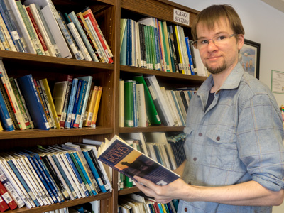 Philip Peterson during his teaching internship in Minto, AK