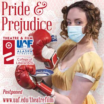 Sarah Williams as Lizzy announces Pride and Prejudice is postponed.
