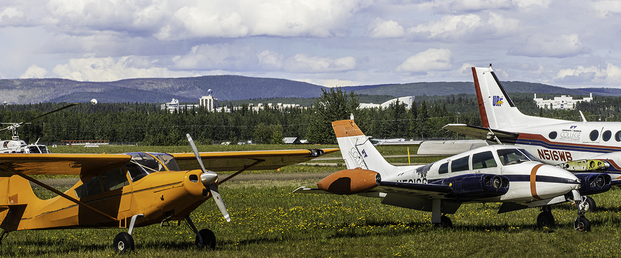 Planes for UAF Community and Technical College Aviation Maintenance Program parked near Fairbanks International Airport