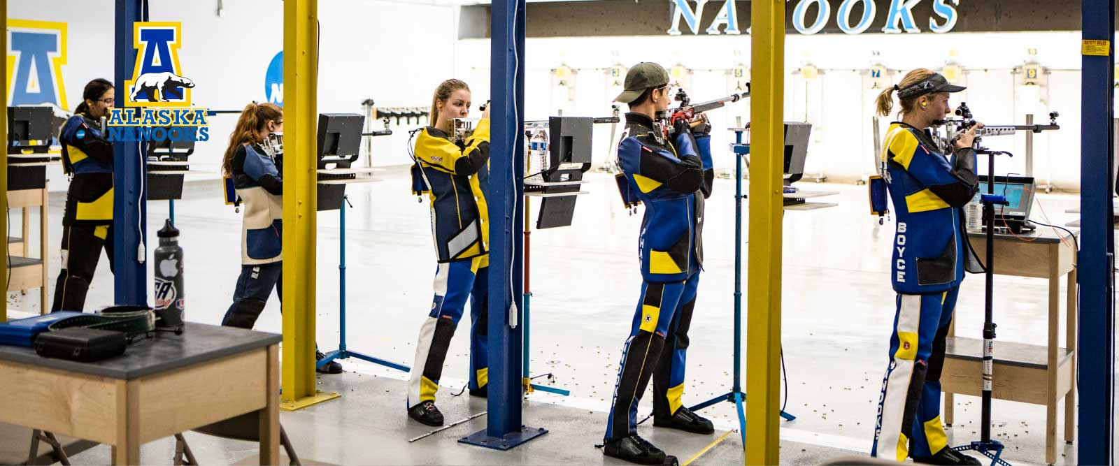 The Alaska Nanooks rifle team practicing at the range.
