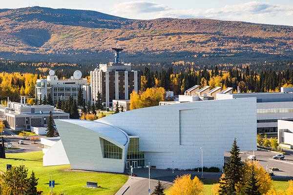 Autumn aerial view of UA Museum of the North on the Fairbanks campus