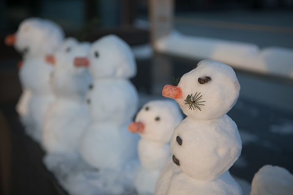 A row of small snowmen on the Fairbanks campus