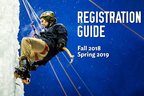 Registration guide cover featuring a student on UAFs ice climbing wall