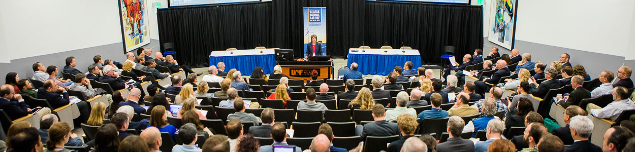 U.S. Senator Lisa Murkowski (R-AK) addresses an Alaska National Lab Day audience in the Schaible Auditorium at UAF